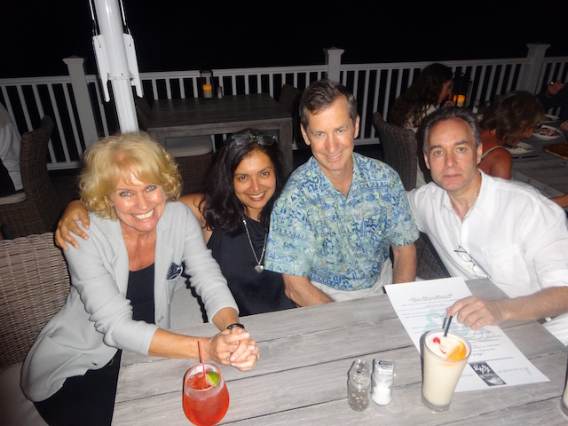 With goor friends Maithili Wilson, Andrew Best and John at 1648 Governors Harbour