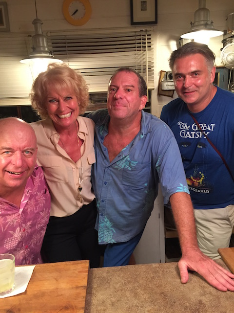 A great night with Larry Wilhelm, Me, Dan Blow and Joel Colman - Bob's elder son on a short visit.