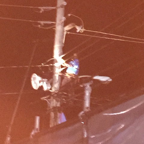 When the lights went out - overload !! - there was our BEC man up the pole fixing it .....