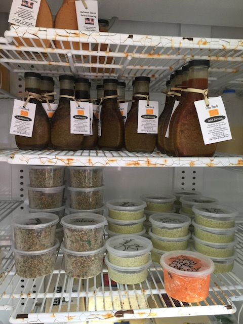 Salad dressings , taboulah, spinach dip - make sure you check out the fridges