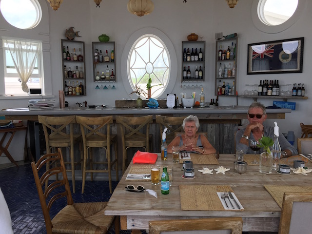 My Mum with Bob in the restaurant