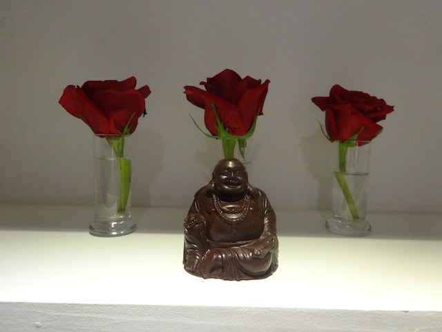 The chocolate Buddha from Christmas 2014 - it was so beautiful I photographed it in front of the roses !!!