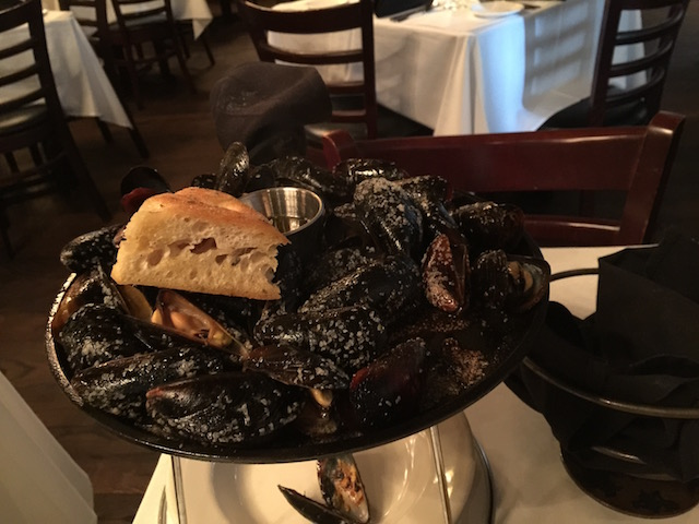 Black Skillet roasted mussels at Timpano