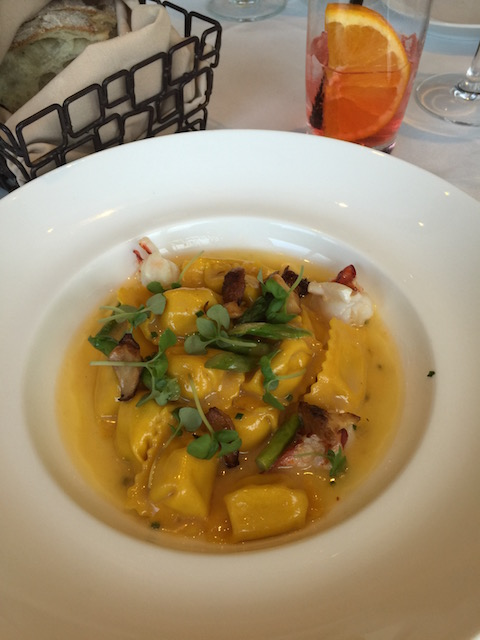 The appetizer I ate at Valentino Cucina - corn puree filled tortellini with lobster and asparagus - simply divine !