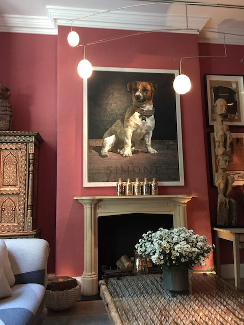 Someone else who loves their dogs - art in the drawing room at the Crosby St Hotel