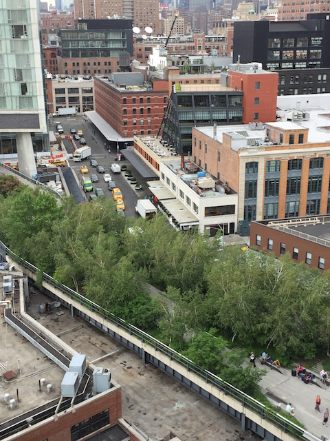 Looking down onto the Hi-Line from the Whitney Museum