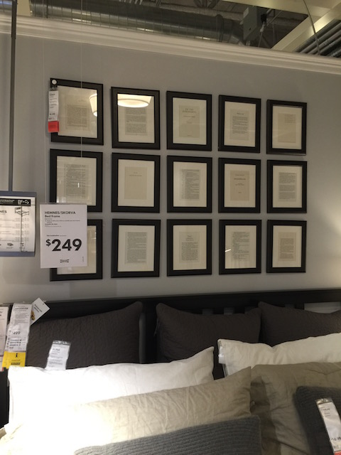 Loved this idea in Ikea - pages from a book framed and hung as a block......