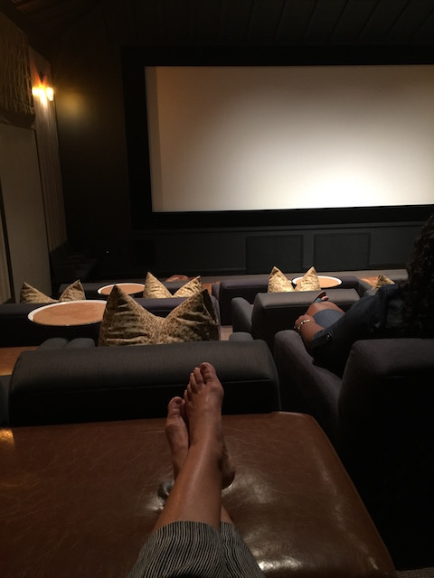 Feet up in the cinema - ready for the movie .....
