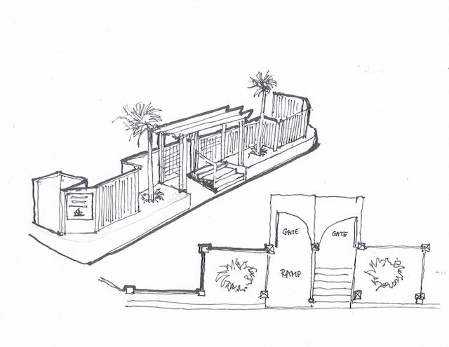 Bob's drawing for the new frontage