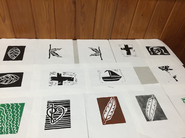 A selection of some of the prints made by the high school students