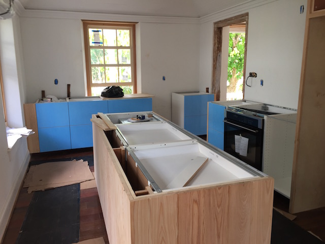 Cabinets still with their protective coat on