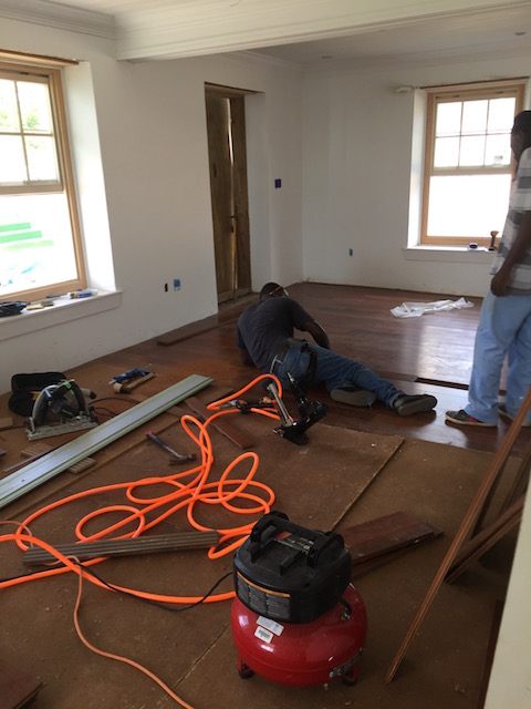 Finishing off the floor at Cornerwall House