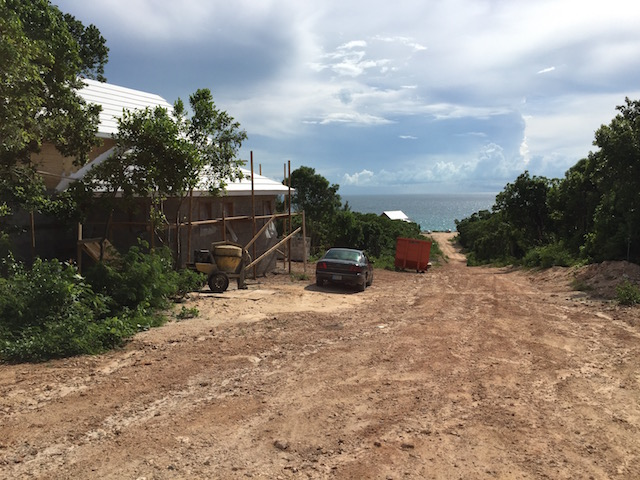 The beautiful view down the hill at Turtle Bay showing the house at the top of the site and the one at the bottom.