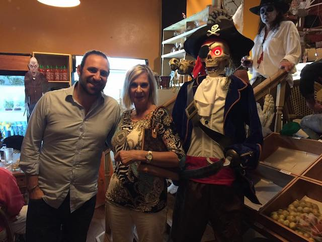 Lesley Alticosalian with her son and the pirate at the door