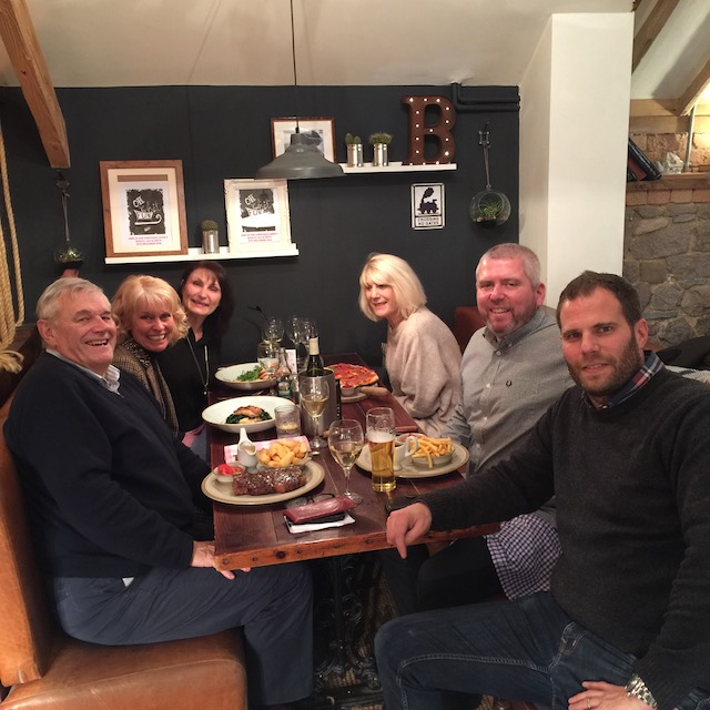 From left to right - dear friend Rick, Me ! ,Richard my stepson's lovely wife Terri, Rick's beautiful wife Jo, Richard my stepson from a former life !, and finally Ben - Jo and Rick's son and co-owner of the fantastic gastropub the Blue Bell Inn.....