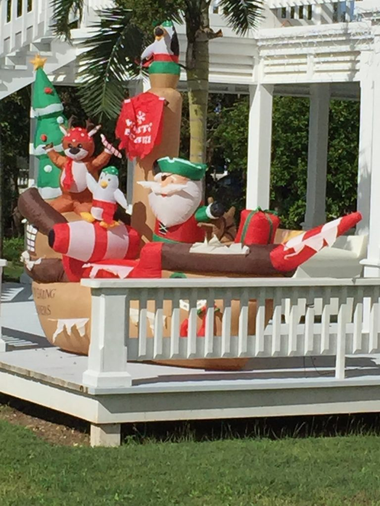 Inflatable pirate ship with Santa and helpers ....