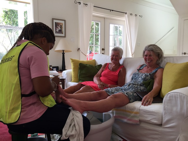 Cleomie Rankine busy with the pedicures .....