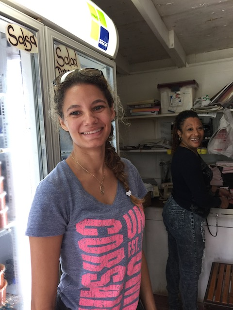 The lovely Ria and Tereca at the Island Farm shop