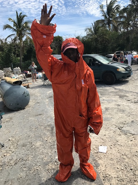 These survival suits we found when clearing out another box - modeled beautifully by Ivan - one of our willing helpers !