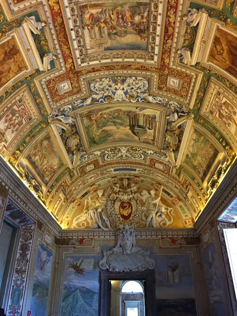 A view of the ceiling in the longest gallery in the Vatican Museum
