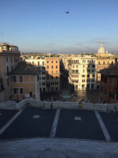 A beautiful early morning view from the top of the Spanish Steps in Rome....
