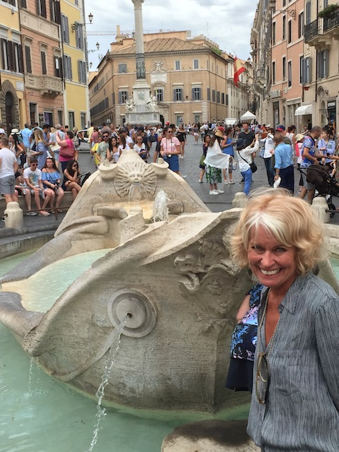 This is the 'Ugly Boat 'Fountain at the base of the Spanish Steps......
