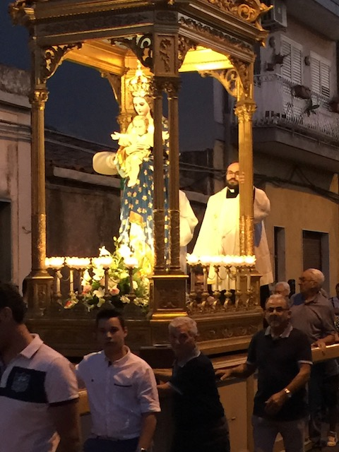 A typical Sicilian saints day parade which we had to stop and allow to pass before we went on our way to a restaurant......