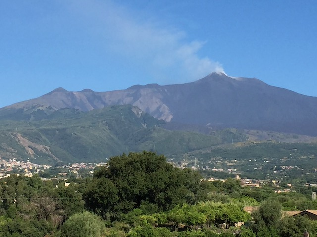 The wonderful view of Mount Etna smoking - from our bedroom window !