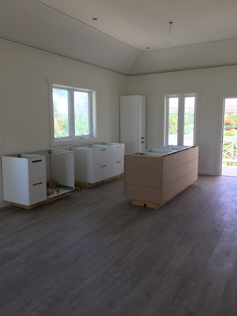 One of the kitchens in the larger 2 bedroom apartments