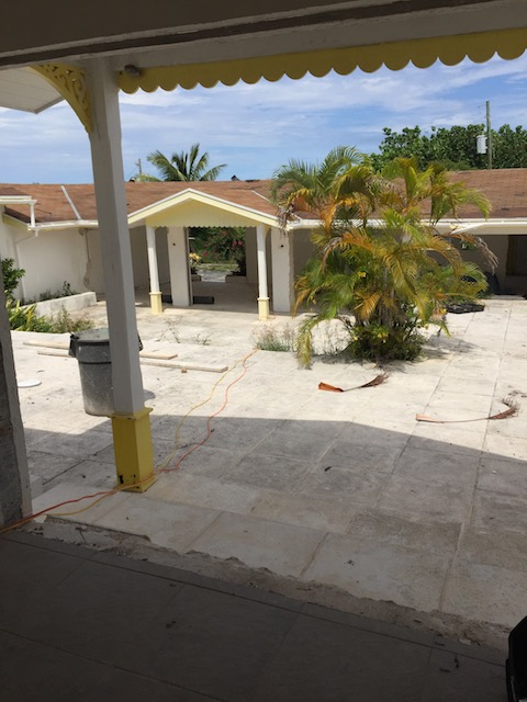 The courtyard where there will be outside dining