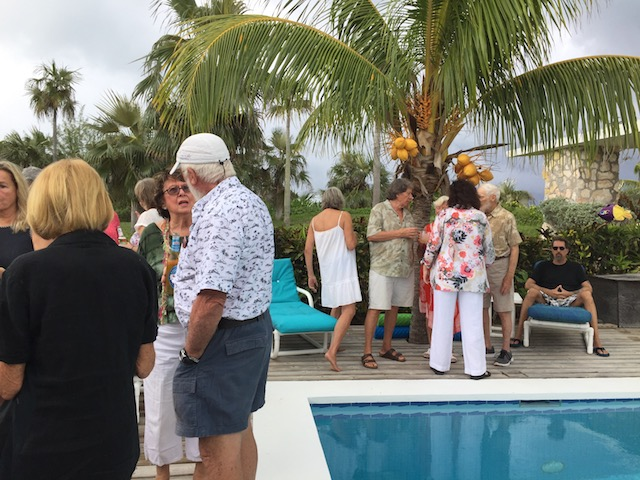 Friends gathered to celebrate Joy's life - around the pool before the rain came !