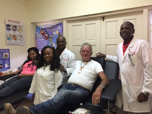 First time blood donor Sheena from Lord Byron Enterprises and also 1648, Chrystal and Glen from PMH Blood Bank, Bob and Everette also fro PMH Blood bank