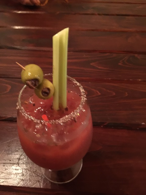 And a picture of the best Bloody Caesar on the island - served at Sunday lunch chez Bacchus Fine Foods ! And another one please .....