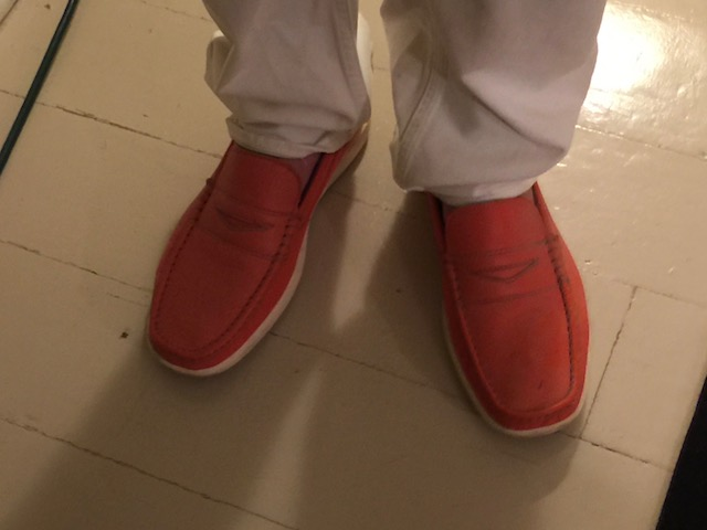 You know my love of orange - so I couldn't resist a picture of Jonathan's shoes !