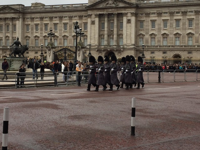 The Royal Guards - in their grey overcoats so you cannot see their beautiful red jackets....