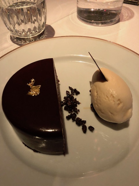 And finally desert - chocolate mousse with white coffee ice cream