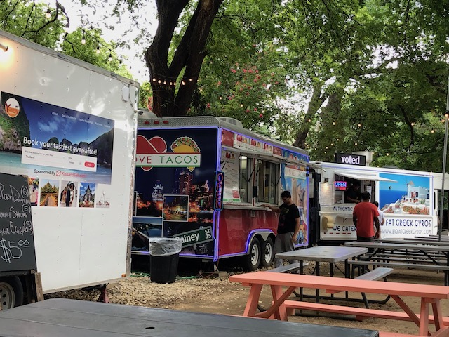 Oh my - the selection of food trucks all along the street was amazing.....