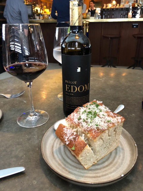 The bread was really good and this Israeli wine that Bob selected was fabulous....