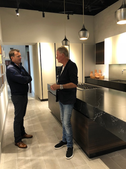 Bob and Justin deep in conversation at the Tipler Design Centre