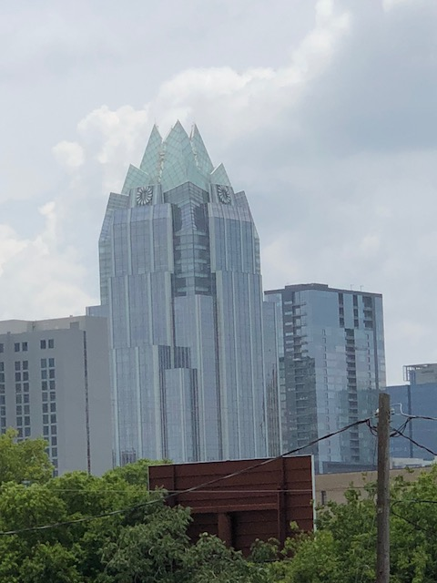 This is a financial centre in Austin - a great view of the building from our hotel room - can you se that it looks like an owl's face at the top ?