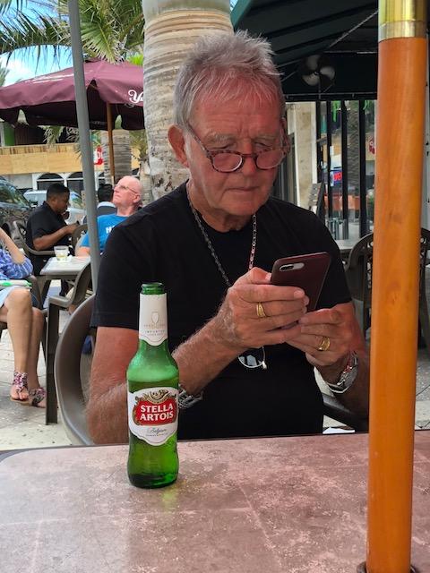 Bob enjoying a cold Stella