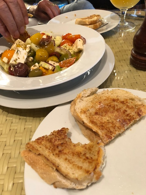 Lunch this week at Bacchus Fine Foods - melted cheese sandwich and Greek salad - yummy..... A real favorite of ours.