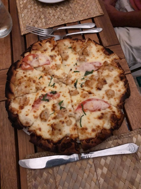 Delicious seafood pizza