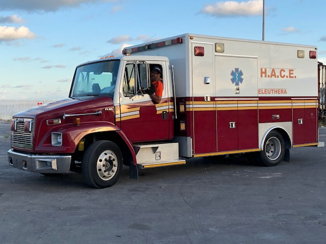 Jason Thompson with the HACE ambulance - out on the Cay - just in case.....