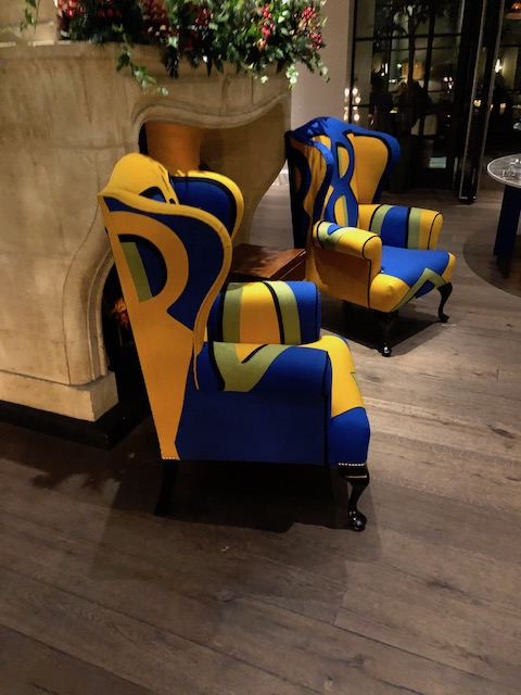 Simply loved these treatments to 2 wing chairs at Ham Yard
