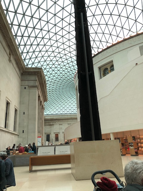 The enclosed courtyard of the British Museum with a stunning huge glass roof.