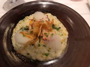 Herb risotto with Maine lobster , parsnip chips and a foam - but I can't remember what flavor ! Delicious....